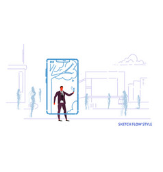 businessman using mobile application taking selfie vector image