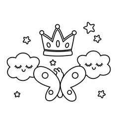 buttlerfly with crown and clouds black and white vector image