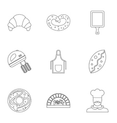 Cakes icons set outline style vector