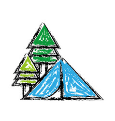 camp with trees and natural adventure vector image