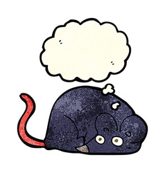 cartoon white mouse with thought bubble vector image