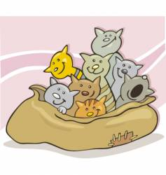 Cats in a sack vector