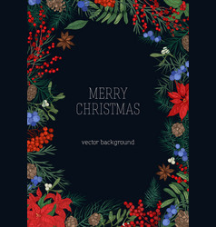 Christmas backdrop with frame made of branches vector
