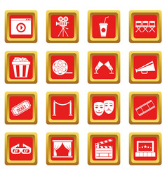 cinema icons set red vector image