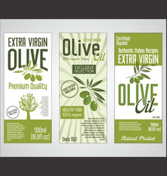 collection of olive oil labels 01 vector image