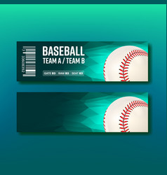 colorful ticket visit baseball template vector image