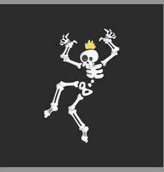 creepy punk skeleton character dancing vector image
