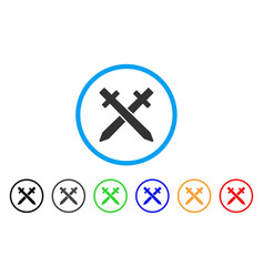 crossing swords rounded icon vector image