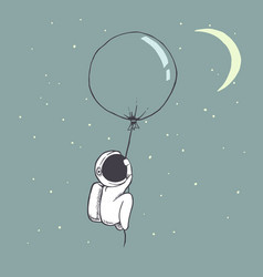 Cute astronaut flies with balloon vector