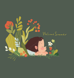 Cute little girl lying in grass and flowers vector
