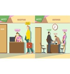Digital company reception and talking vector