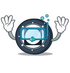 Diving byteball bytes coin character cartoon vector