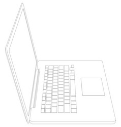 drawing wire-frame open laptop vector image