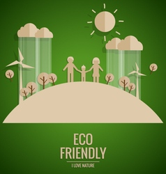 Ecology concept Paper cut of family and tree on vector image