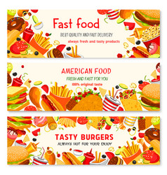 Fast food banners of fastfood meal snacks vector