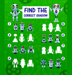 Find correct robot shadow kids riddle vector