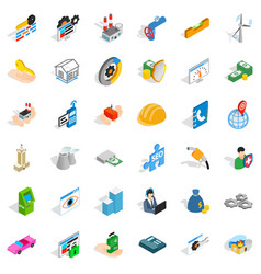 firm icons set isometric style vector image