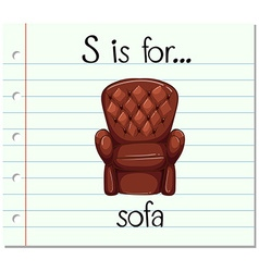 Flashcard letter S is for sofa vector image