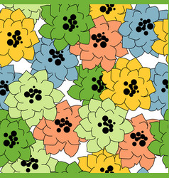 flower seamless pattern in bright colors over vector image