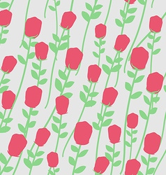 Flowers seamless pattern Red roses with green vector