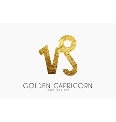 Golden capricorn Golden zodiac sign Capricorn vector image