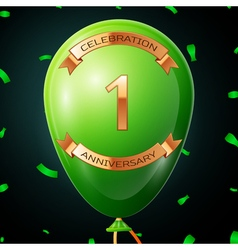 Green balloon with golden inscription one years vector