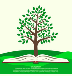 green tree grows from open book vector image