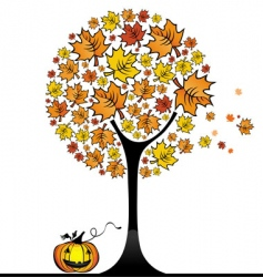 Halloween maple tree vector image