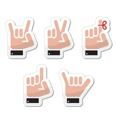 Hand gestures signals and signs - victory vector