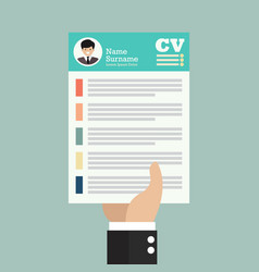 hand holding cv application paper sheet vector image