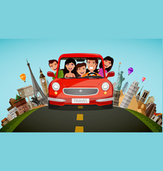 Happy family rides in car on vacation journey vector