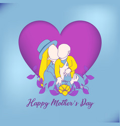 Happy mothers day card with floral mother vector