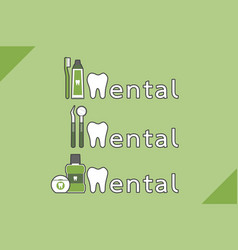 healthy teeth and friend combined as dental word vector image