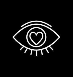 Heart in eye line icon love in eye vector