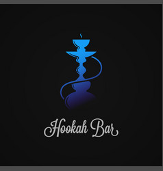 hookah logo with blue hookah on black background vector image