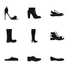 jackboot icons set simple style vector image