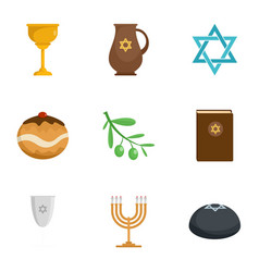 Judaism religion icon set flat style vector