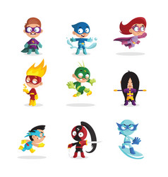 Kids in colorful superhero costumes set funny vector