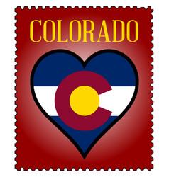 Love colorado flag postage stamp vector