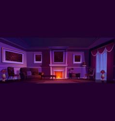 Luxury old living room dark interior fireplace vector