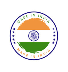 Made in india round label vector