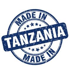 made in tanzania blue grunge round stamp vector image