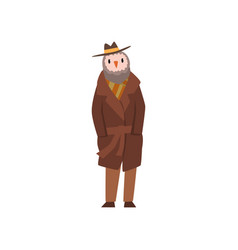 man with head of owl bird character wearing retro vector image