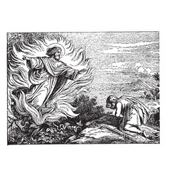 Moses and the burning bush vintage vector