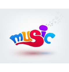 Music text design Hand drawn word on white vector image