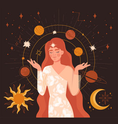 mystical vintage style hand drawing vector image
