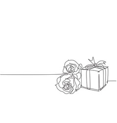 one continuous line drawing beautiful rose vector image