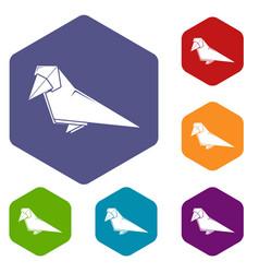 Origami bird icons hexahedron vector
