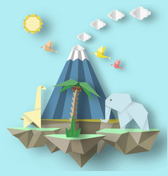 Origami composition with soars islands vector