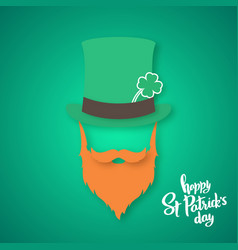 origami of irishman saint patricks day card vector image